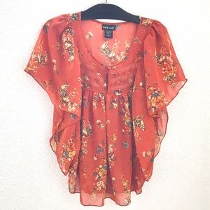 Orange Butterfly Sleeve Top