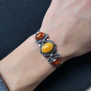 Vintage Jewelry - ✨Vintage Zuni Native American, Amber Sterling