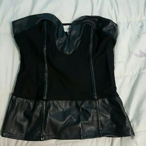 Body Central Tops - Leather strapless corset like top