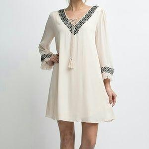 Medium Embroidered fringe sleeved tunic dress