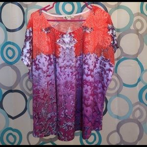 Unity Tops - Unity top orange/purple short sleeve nice 3X nice