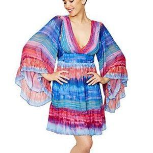 Betsey Johnson Rainbow Bell Sleeve Dress