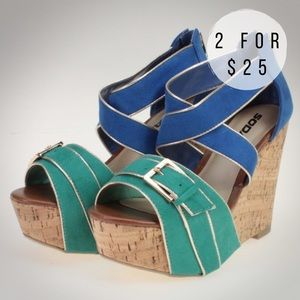 Soda Shoes - Blue & Green Platform Sandal Wedges