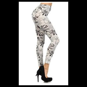 Gray and white Floral Leggings