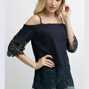 Tops - Small Off the shoulder lace detailed top in navy