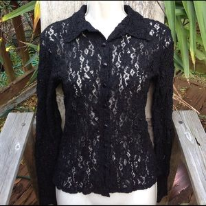 Anne Fontaine Tops - Anne Fontaine black lace knit button up blouse