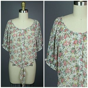 Poetry Tops - POETRY FLORAL TIE FRONT BLOUSE