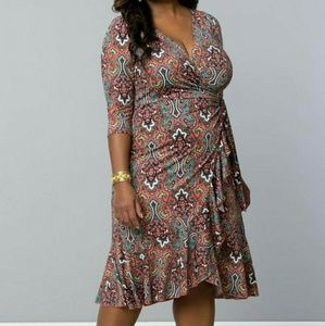 Kiyonna Dresses & Skirts - Flirty Flounce dress in Orange Paisley