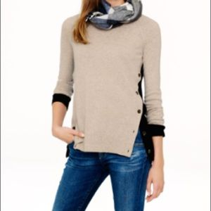 J Crew Side-Button Elbow Patch Sweater
