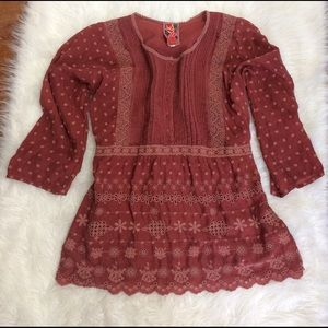 Johnny Was Tops - Johnny Was Rust Eyelet Tunic