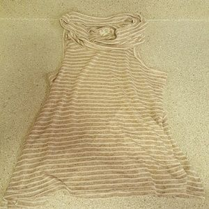 Hippie Rose Sweaters - Tan and white striped cowl neck.