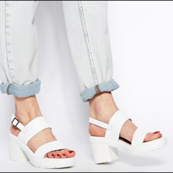 9373b782593 ASOS Shoes - ASOS hat trick leather heeled sandals- white