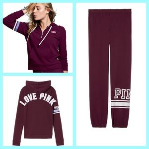 XS PINK Perfect Quarter Zip and Campus Pants