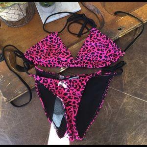 Freestyle Other - Pink leopard bikini- HOT! Top M, S bottom, SALE!
