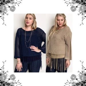 Umgee Tops - Plus Size Fringed Knit Cropped Sweater