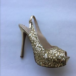 Enzo Angiolini Shoes - Enzo Angiolini Gold sequin peep toe heels
