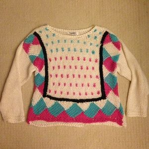 Bright vintage knit pullover sweater