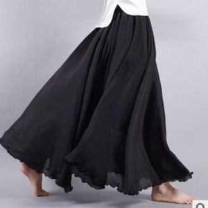 Dresses & Skirts - Black Linen  blend  long skirt
