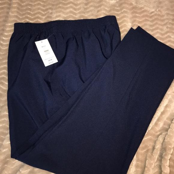 c6bb0ebca44 Dark blue elastic waist pull on pants