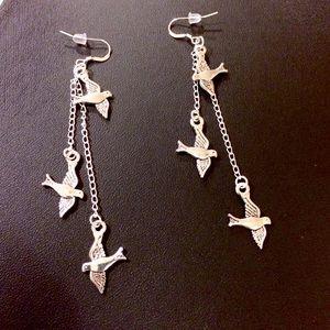 Jewelry - Dove, bird chain dangle earrings