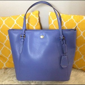 Coach Handbags - Coach All Leather Large Blue Tote