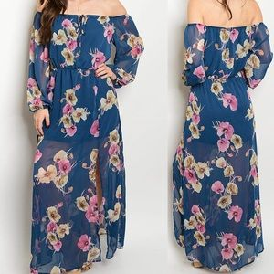 FINAL SMALL!! 🌸 Strapless floral mauve Maxi Dress