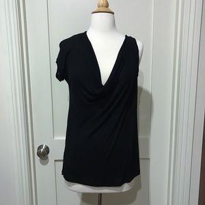Asymmetrical Black Shirt w/Cowl Neck BCBGMaxAzria