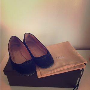 Alaia Shoes - Alaia suede ballerina flats with bow detail.