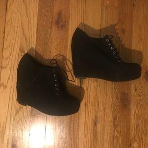 Black Poppy Shoes - Black Poppy Wedges