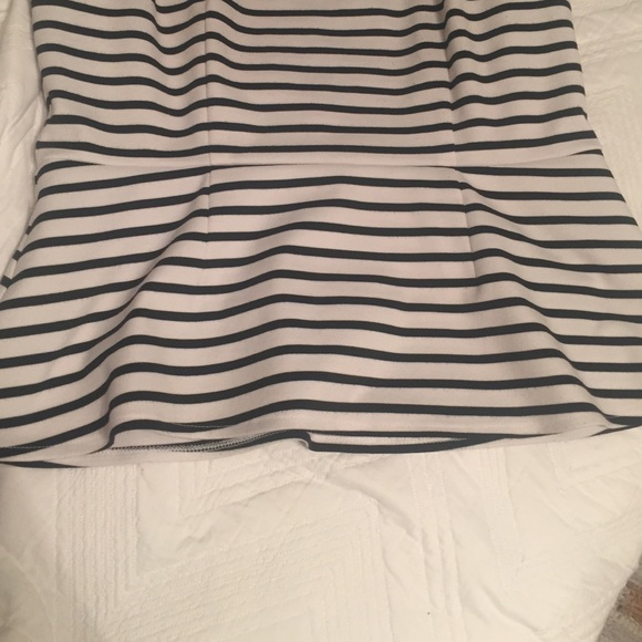 Apt. 9 Tops - Black & White Striped Peplum Top