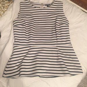 Apt. 9 Tops - 🌷Spring Sale -Black & White Striped Peplum Top