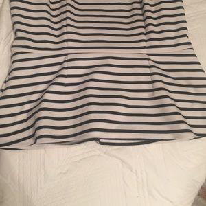 Apt. 9 Tops - Black & White Striped Peplum Top