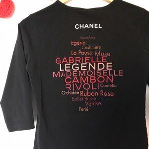 CHANEL Tops - ROUGE Coco Chanel shirt black 3/4 Sleeve medium
