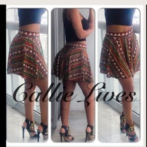 Callie Lives Dresses & Skirts - Red African Tribal Ethnic Print Skater Mini Skirt