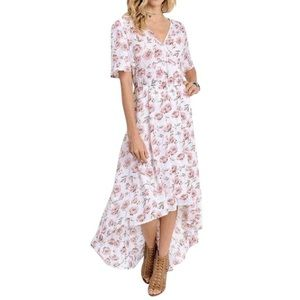 Southern Girl Fashion Dresses & Skirts - FLORAL MAXI Printed Bohemian Swingy Hi Low V Gown