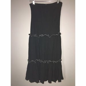 Black ruffled Maxi Skirt Maxi Dress SZ M