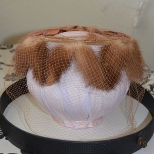 Vintage fox fur and French lace pillbox hat