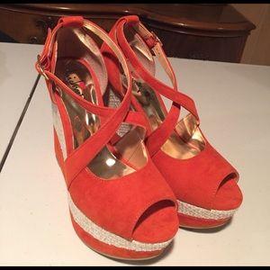 Luichiny Shoes - Luichiny orange suede/cream fabric wedge platform