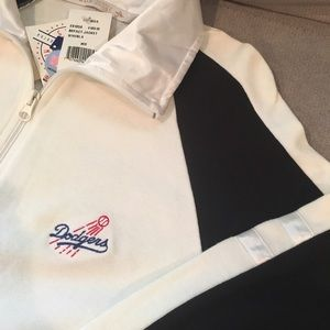Antigua Sweaters - Los Angeles Dodgers Wht/Blk Zip-Up Sweater Size M