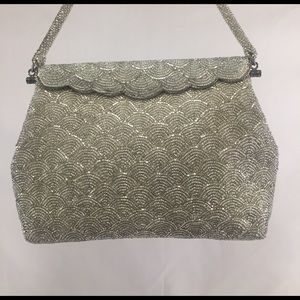 Handbags - Vintage Silver Beaded Evening Bag