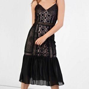 Glamour & Co. Dresses & Skirts - Glamorous Black Lace Drop Waist Bodycon Dress