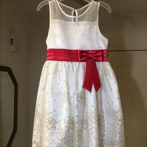 Kids ivory dress with sparkly tulle overlay & bow