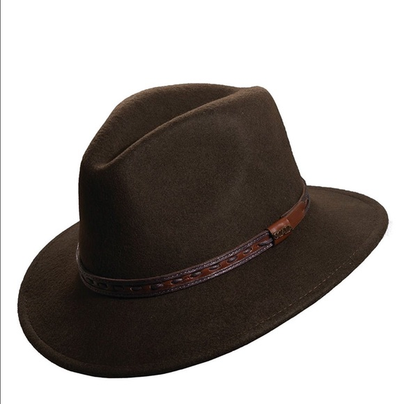 a2cdc36b Scala wool leather trim safari hat olive/brown. M_58b8c2faf0137d9d3400258f