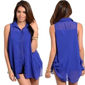 Blue Collared Button Down Chiffon Hi-Low Top