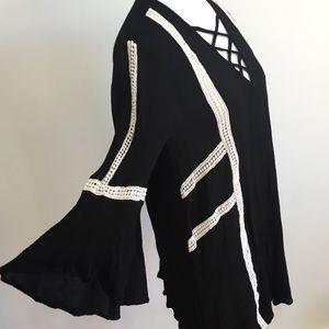 She and Sky Dresses & Skirts - She And Sky Black Gauze Cream Crochet Trim Dress M