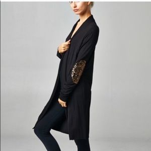 Callie Lives Sweaters - Sparkly Sequin Bronze Elbow Patch Black Cardigan