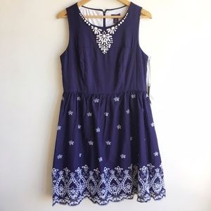 NYDJ Dresses & Skirts - NYDJ Navy printed dress NWT Size 12