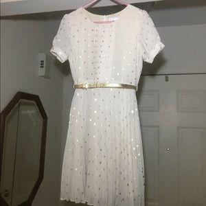 Blush by Us Angels Other - Kids Ivory & gold polka dot dress w/ belt