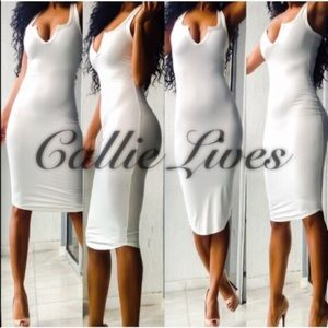 Callie Lives Dresses & Skirts - Ivory White VNeck Bodycon Midi Dress Supa Sexy M