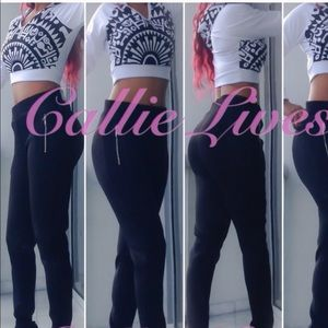 Callie Lives Pants - Plus Black White Hoody Crop Top Quilted Jogger SET